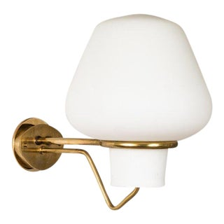 Large 1950s Gunnar Asplund Jh-813 Brass and Glass Sconce for Asea For Sale