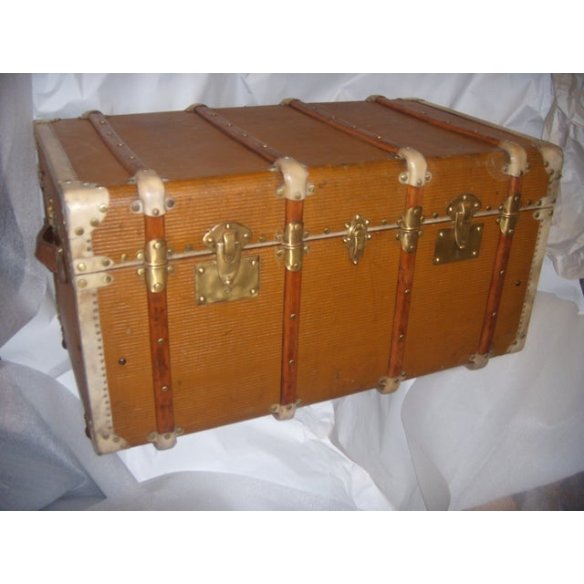 French Wood, Vellum & Leather Trunk - Image 4 of 10