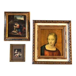 Gallery Wall Collection 3 Vintage Madonna & Child Italian Prints Framed For Sale