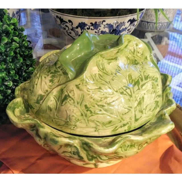 1980s Ceramic Large Cabbage Green Soup Tureen For Sale - Image 5 of 5
