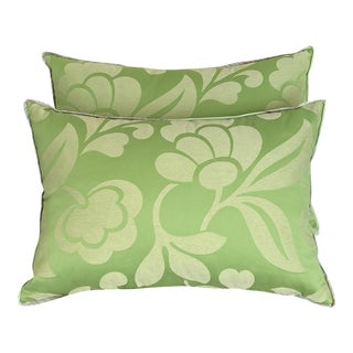 Family Room Green Floweret Damask Pillows - a Pair For Sale