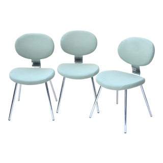 Allermuir Chrome Wool Felt Side Chairs Set of Three For Sale