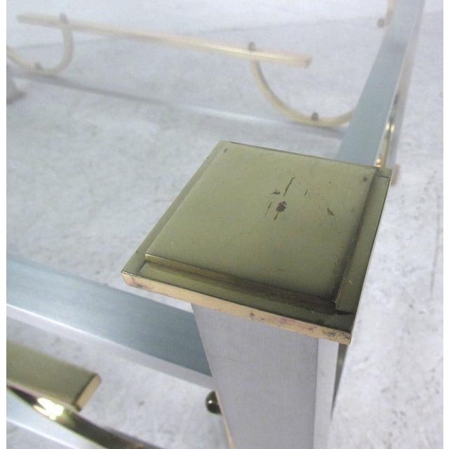 Transparent Mid-Century Modern Maison Jansen Style Chrome & Brass Coffee Table For Sale - Image 8 of 10