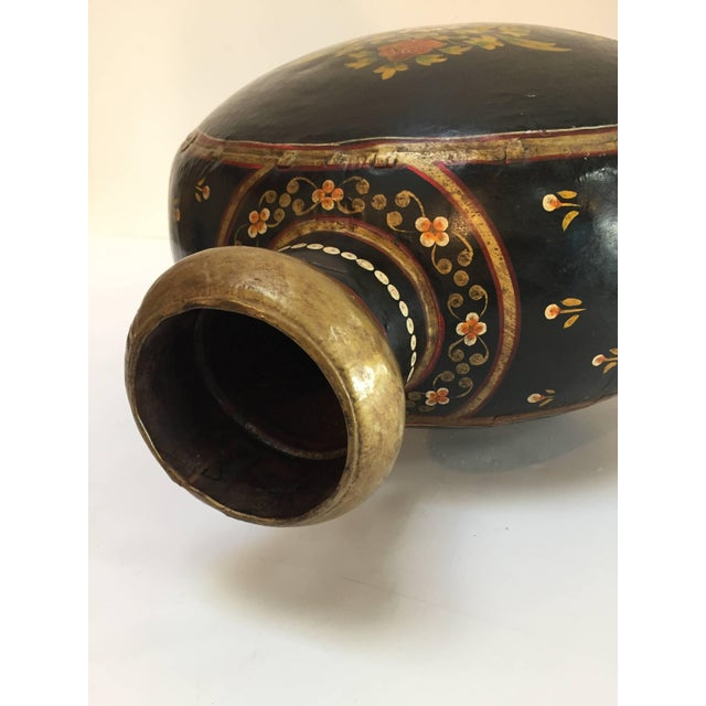 Copper Hand-Hammered Anglo Raj Copper Black Hand-Painted Vessel Jug For Sale - Image 7 of 10