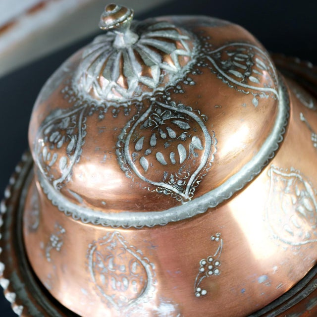 Antique Turkish Ottoman Copper Lidded Bowl Hand Forged Hand Chiseled and Tinned For Sale - Image 9 of 13