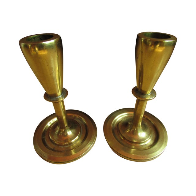 Mid-Century Modern Brass Candle Holders - A Pair - Image 1 of 7