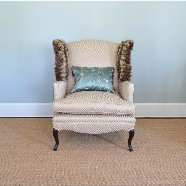Silk & Fur Teal & Champagne Wingback Chair For Sale In Tampa - Image 6 of 9
