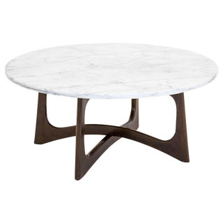 Adrian Pearsall for Craft Round Marble Top Walnut Coffee Table For Sale