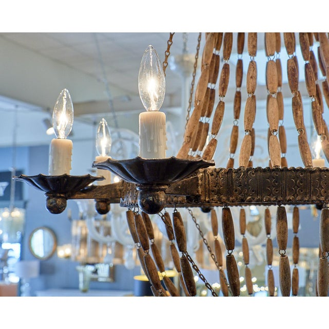 Vintage Italian Wooden Chandelier For Sale In Austin - Image 6 of 10