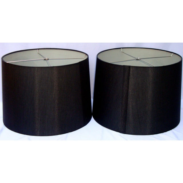Modern Deco Glam Black Silk Floral Lampshades - Image 8 of 9