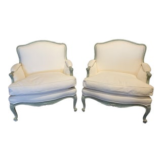 French Louis XV Style Bergere Arm Chairs, a Pair For Sale