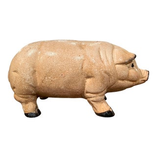 Mid-20th Century French Hand Painted Iron Piggy Bank Sculpture For Sale