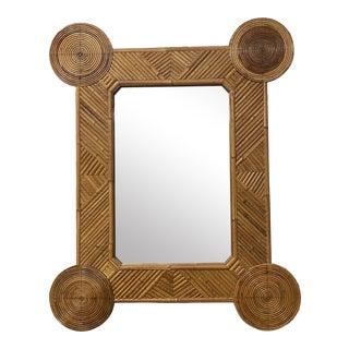 Vintage 1960s Bamboo Mirror
