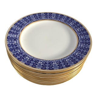 Early 1888 Minton Blue & White, Gold Rim Porcelain Luncheon/Salad Plates - Set of 10