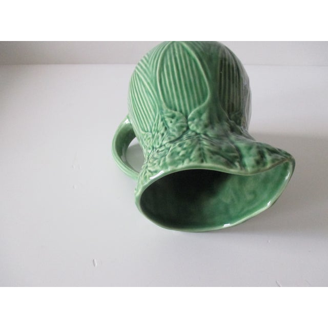 Vintage Celery Green Pitcher Handcrafted in Portugal For Sale In Miami - Image 6 of 7