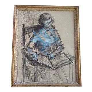 1940's Charcoal and Blue Pastel Sketch of a Lady in Gilt Frame For Sale