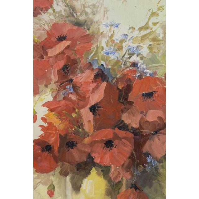 1960s 1960s Vintage Still Life With Poppies Oil Painting For Sale - Image 5 of 7
