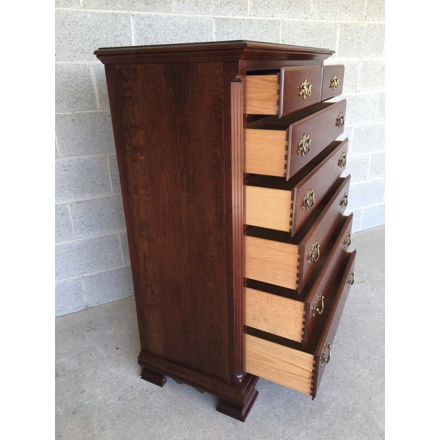 Description: Colonial Furniture Solid Cherry 7 Drawer High Chest. Chippendale Styling, In Very Good Vintage Furniture...