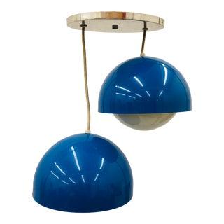 Vtg Mid Century Modern Double Pendant Chandelier by Lightolier For Sale