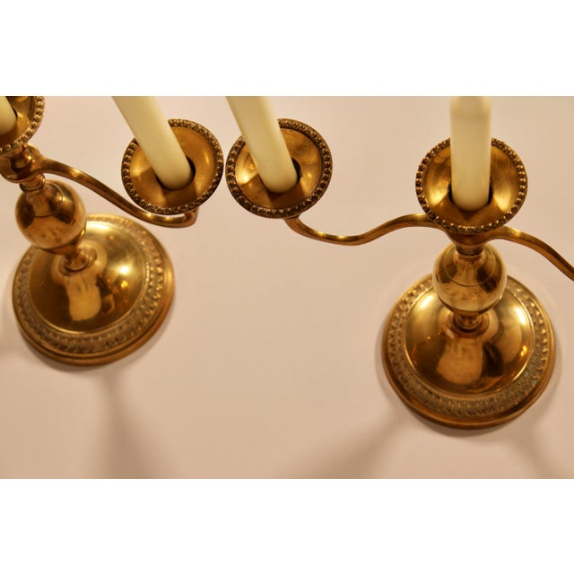 Metal Vintage English Hollywood Regency Brass Candelabras - a Pair For Sale - Image 7 of 10