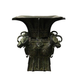 Chinese Oriental Green Bronze-Ware Large Home Decor Display For Sale