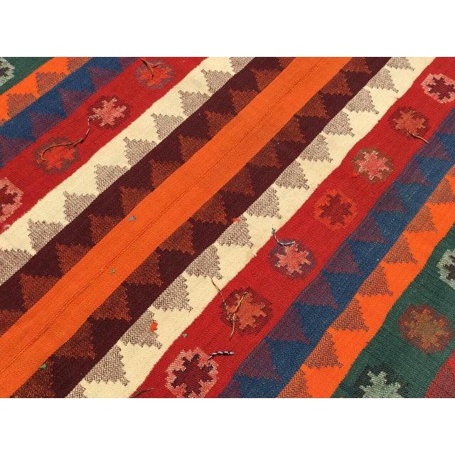 Textile Colorful Vintage Kilim Rug For Sale - Image 7 of 10