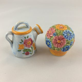 Miniature Watering Can & Flowers Salt & Pepper Shakers - a Pair Preview