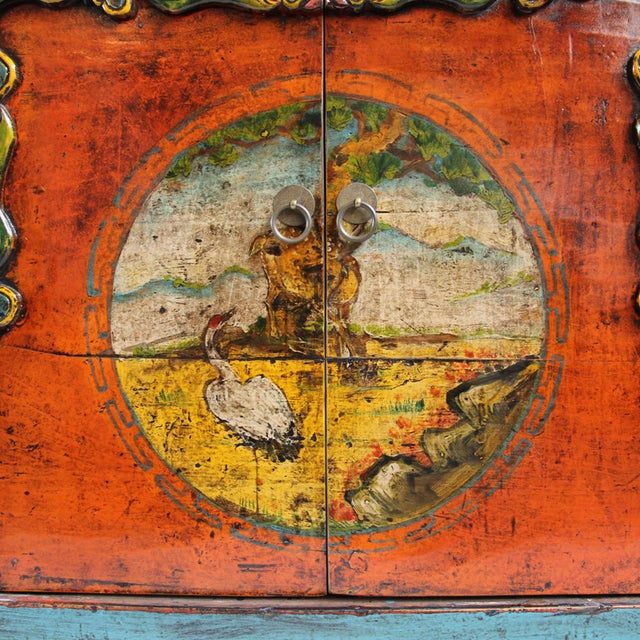 Painted Mongolian Storage Cabinet For Sale - Image 5 of 5
