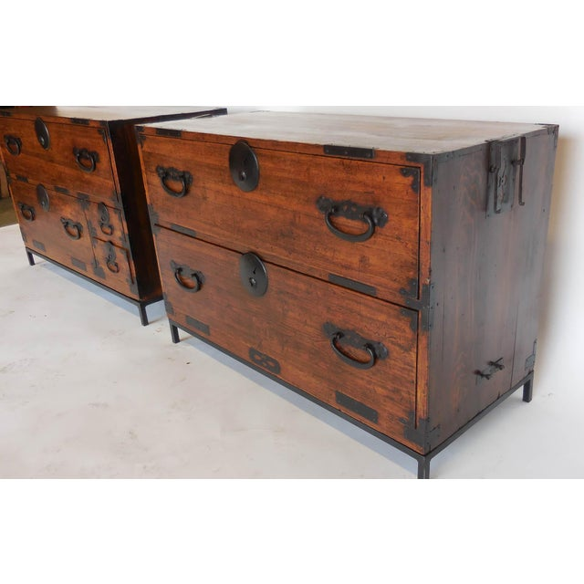 Mid-Century Modern Pair of 19th Century Low Japanese Tansus, Nightstands For Sale - Image 3 of 9