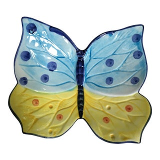 Zanolli Hand Painted Italian Ceramic Butterfly Dish For Sale