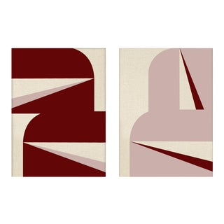 """""""Abstract Graphic Burgundy Blush"""" Contemporary Geometric Acrylic Paintings - A Pair For Sale"""