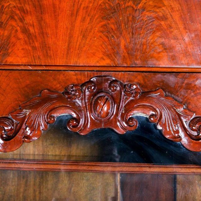 19th Century Antique American Empire Flame Mahogany Carved Slant Front Secretary 19th Century For Sale - Image 5 of 10
