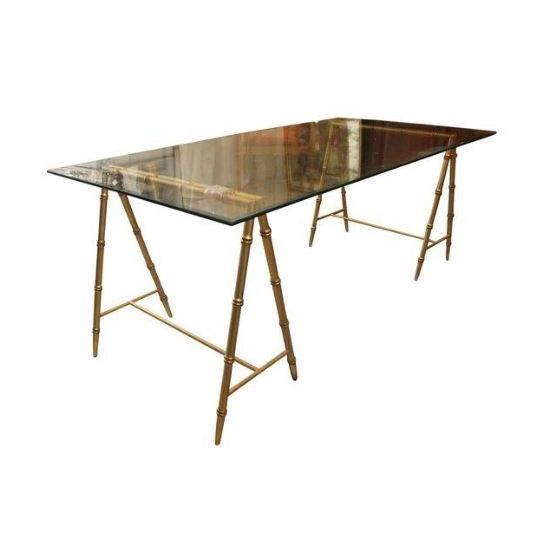 Glass & Gold Iron Faux Bamboo Dining Table - Image 1 of 5