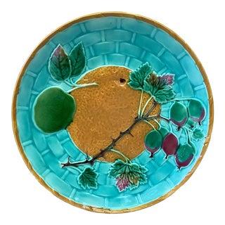 Late 19th Century Victorian Majolica Orange Plate For Sale