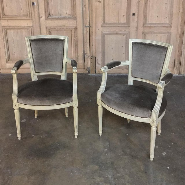 19th Century French Louis XVI Painted Armchairs - a Pair For Sale - Image 13 of 13
