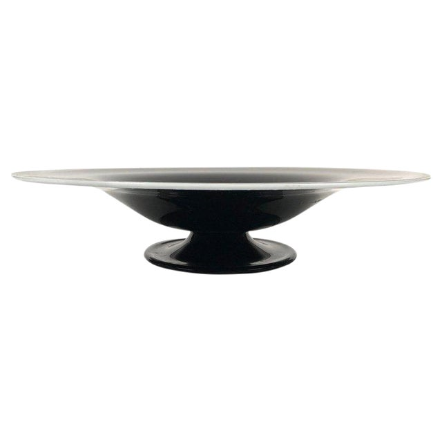 Large Black and White Italian Blown Glass Footed Bowl For Sale