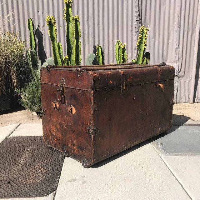 Late 19th Century Antique Leather and Wood Trunk, Circa 1890 For Sale - Image 5 of 12