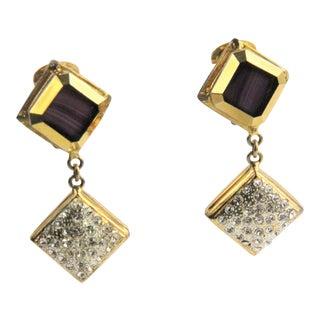 Vintage De Liguoro Purple Art Glass Pave & Gold Runway Statement Earrings - a Pair For Sale