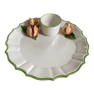 Italian Trompe l'Oeil Scalloped Serving Platter & Dip Bowl With Pomegranates For Sale