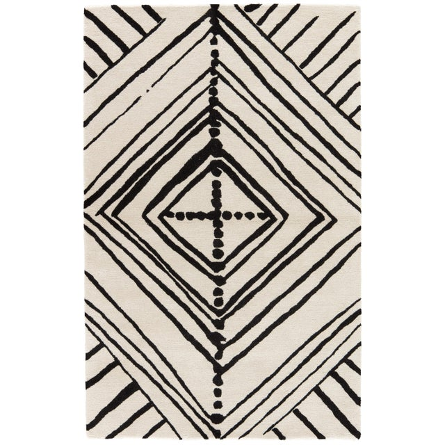 Nikki Chu by Jaipur Living Gemma Handmade Abstract White/ Black Area Rug - 5′ × 8′ For Sale In Atlanta - Image 6 of 6
