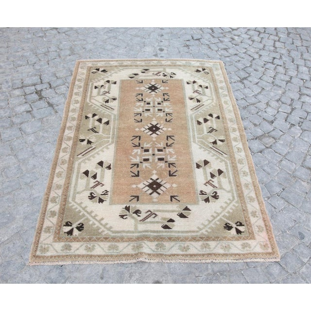 This is a beautiful pastel color old handmade Turkish carpet, it is coming from Milas. The age of this sweet carpet is...
