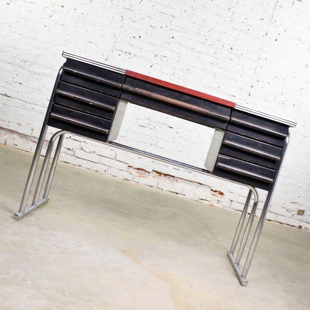 Art Deco Art Deco Machine Age International Style Chrome & Black Desk Gilbert Rohde Attribution For Sale - Image 3 of 13