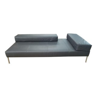 1990's Vintage Tacchini Pietro Arsorio Happy Hour Black Leather Sofa
