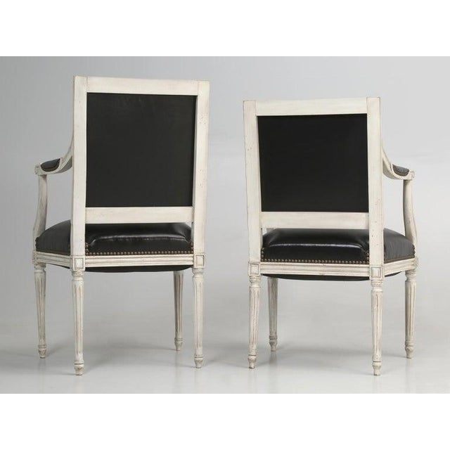 8 Painted French Louis XVI Dining Chairs W/ Leather For Sale - Image 4 of 13
