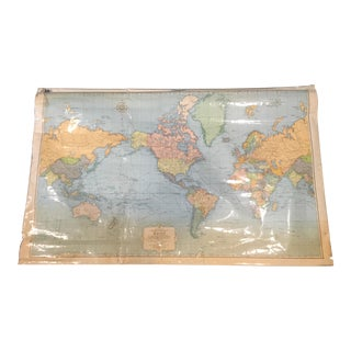 Vintage School Map by Rand McNally : Cosmopolitan World on Mercator's Projection For Sale