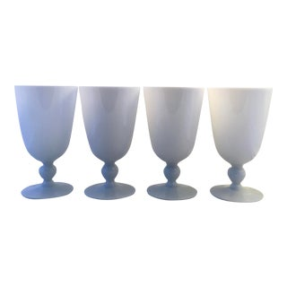 Mid 20th Century French White Opaline Glasses - Set of 4 For Sale