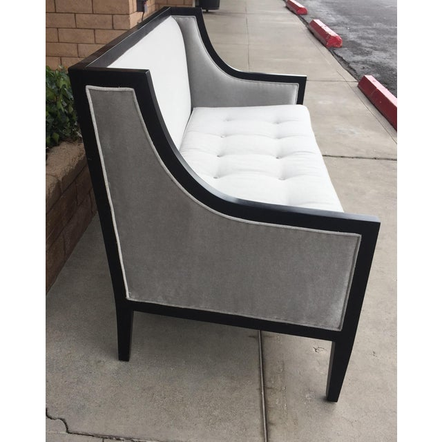 Exposed dark hardwood frame sofa with platinum mohair upholstery. No stains or tears . Classic yet Modern and beautiful! A...