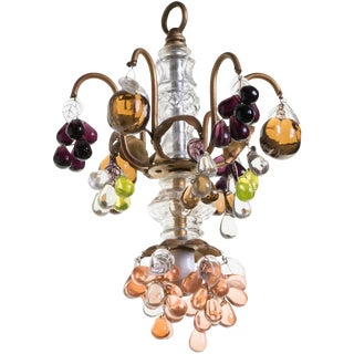Small Italian Glass Fruit Chandelier For Sale
