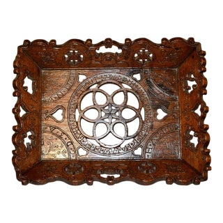 18th Century Hand Carved Oak Linen Tray For Sale