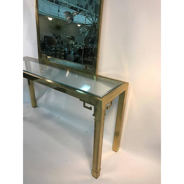 STUNNING SOLID BRASS ITALIAN MIRROR AND CONSOLE TABLE WITH GREEK KEY DESIGN For Sale - Image 4 of 8